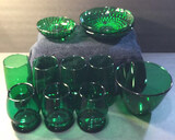 Assorted Green Glassware: 4 - 5 in. Tall