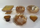 Assorted Vintage Amber Glassware: Indiana