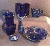 (8)  Cobalt Blue Assorted Glassware:
