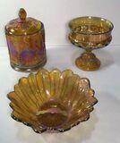 (3) Indiana Glass Amber Iridescent Glassware: