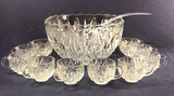 Vintage Punch Bowl with Ladle and 10 Cups
