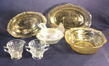 Assorted Vintage Glassware: Yellow Oval 10 1/4