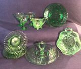 Assorted Vintage Green Glassware: Indiana Glass