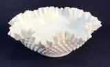 Fenton Milk Glass Hobnail Ruffled Fruit Bowl,