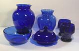 Assorted Cobalt Blue Glassware: 7 1/4 in. Vase; 6