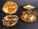 (4) Assorted Vintage Glass: (1) Indiana Iridescent
