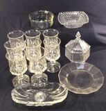 Assorted Clear Glassware: (8) 5 3/4 in. Tall