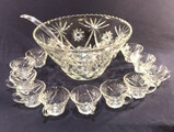 Star of David Punch Bowl with Ladle and (13) Cups