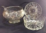 Fruit Design Punch Bowl with Ladle; Large