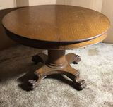 Antique Oak Dining Table with Pedestal Base and