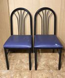 (2) Metal and Upholstered Dining Chairs