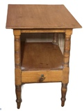 Pine One Drawer Two Tier End Table, Turned Legs,