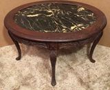 Oval Coffee Table with Carved Cabriole Legs