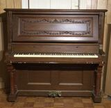Antique Chas M Stieff Upright Piano, Carved