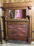 Antique Oak Mantle with Beveled Mirror Insert--