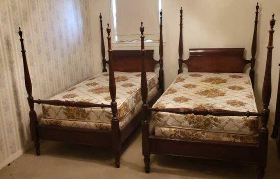 (2) Mahogany Twin 4-Poster Beds