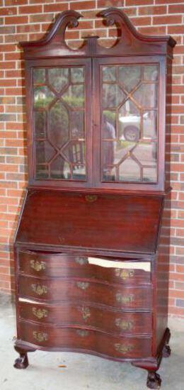 Serpentine Front Mahogany Secretary/Bookcase