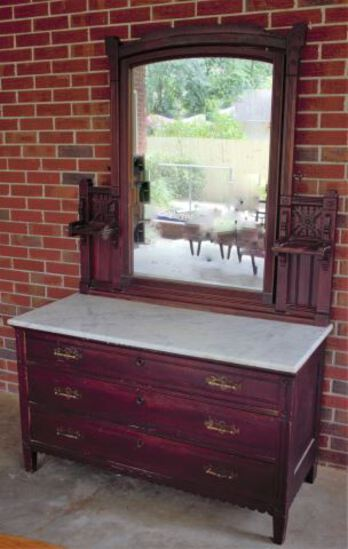Antique Victorian Eastlake Marble Top 3-Drawer Chest w/Swing Mirror -