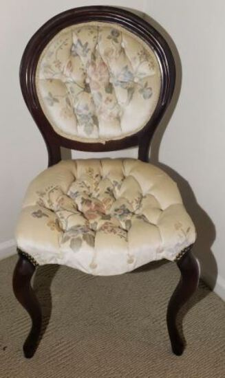 Vintage Victorian Style Chair with Tufted Back and Seat