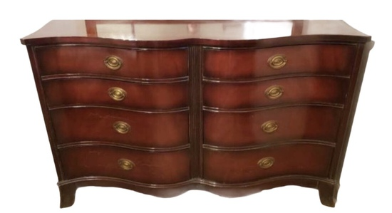 Vintage Mahogany Serpentine Front Sheridan Style Dresser w/Matching Mirror