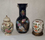 Cobalt Blue Painted Vase & (2) Ginger Jars
