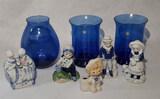 (3) Cobalt Blue Vases & (5) Figurines