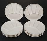 (8) Vintage Matte White Sushi/Fondue Divided