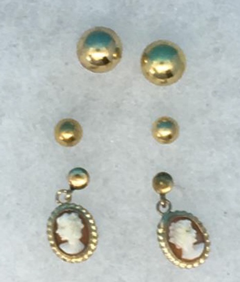 (3) Pair of Pierced Earrings:  14Kt Yellow Gold