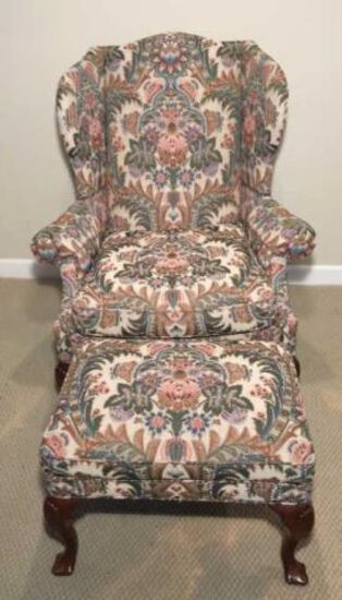 Taylor King Queen Anne Wing Chair and Matching Ottoman