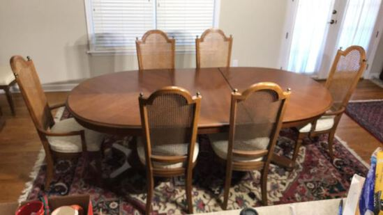 Double Pedestal Oval Dining Table and (8)