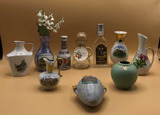 Assorted Souvenir Vases (7) and (2) Bottles
