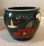 Hand Painted Porcelain Fish Bowl Planter, 12