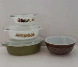 JAJ Pyrex 505 Covered Dish, Made in England;