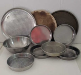 Assorted Pizza and Cake Baking Pans and (1) Bowl
