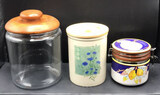 (3) Decorative Canisters: Glass Jar with Teakwood