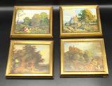 Set of (4) Gold Framed European Village Scene
