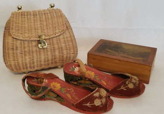 Straw Purse, Wooden shoes from the Philippines,