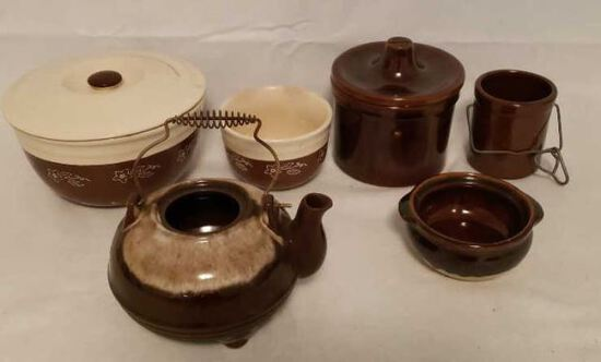Assorted Pottery Items: Stoneware Made in USA, etc