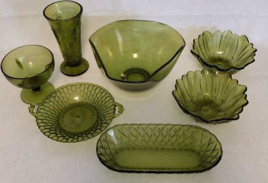 Assorted Collectible Green Glass