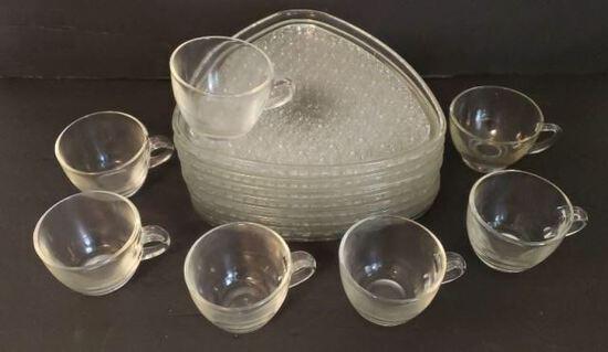 Vintage Dessert Set: (8) Plates, (7) Cups
