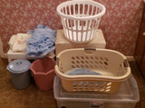 Assorted Bathroom Accessories, laundry baskets,