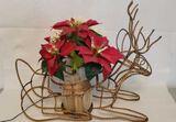 Lighted Poinsettia in Deer Holder