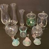 Assorted Glass Vases, Covered Dishes, Trinkets,