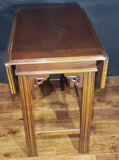 Chippendale-Style Drop Leaf End Table--