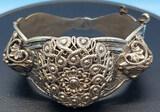 Vintage Sterling Filigree Hinged Cuff Bracelet