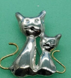 Sterling Cat Pin Marked 925 TC 130 Mexico