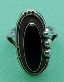 Black Onyx Sterling Ring Size 7.5 Marked 925