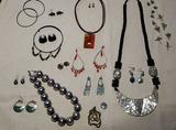 Costume Jewelry: Necklaces, Pierced Earrings,