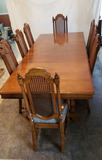 Vintage Rectangular Trestle Dining Table/8 Chairs