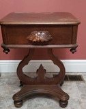 Victorian-Style Walnut One-Drawer Table, Carved